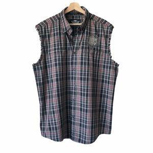 Harley-Davidson Plaid Sleeveless Button Up Shirt L